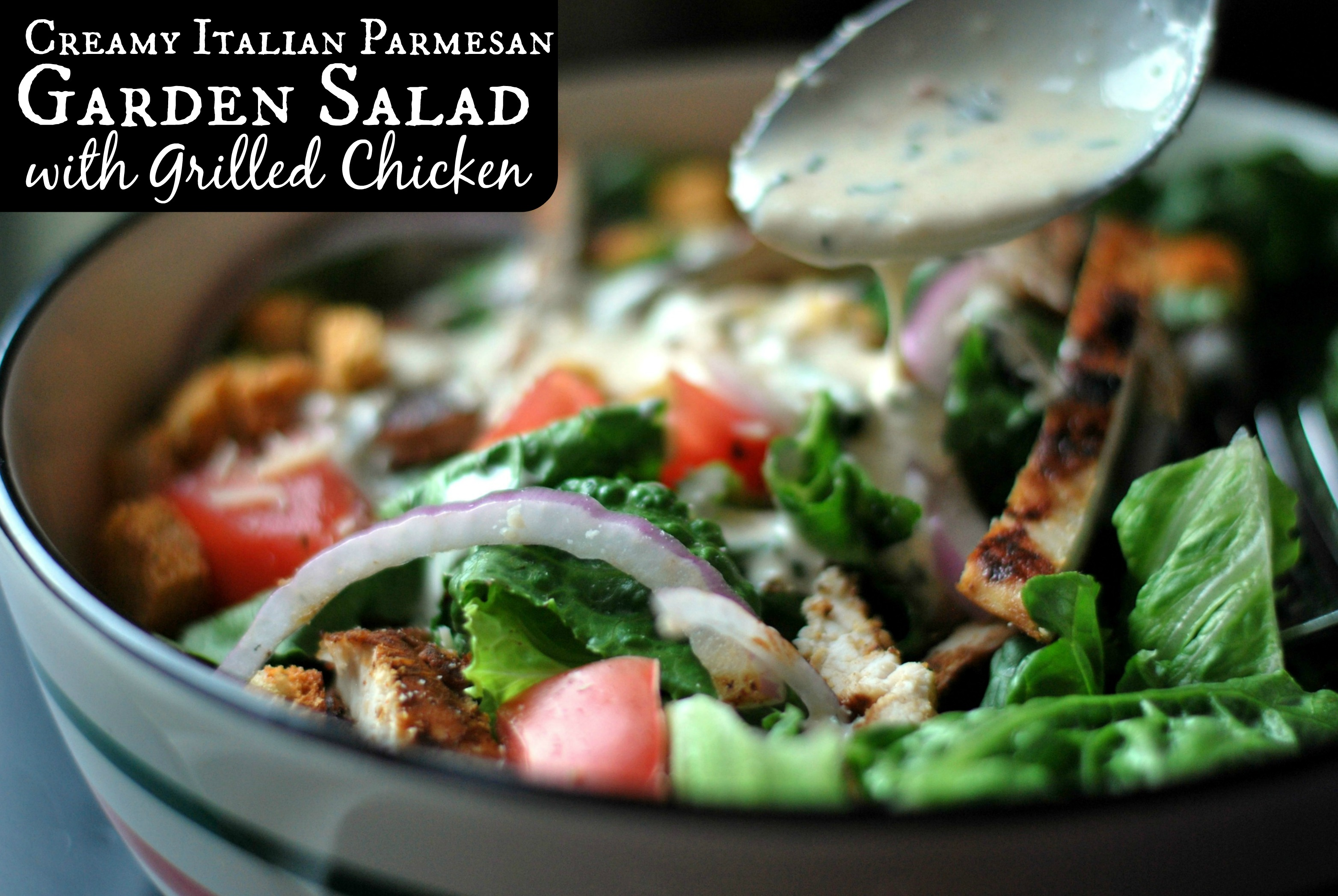 Creamy Italian Parmesan Garden Salad With Chicken