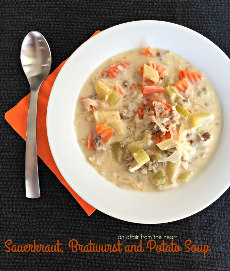 A creamy, slightly tangy soup full of veggies, potatoes, bratwurst and sauerkraut.