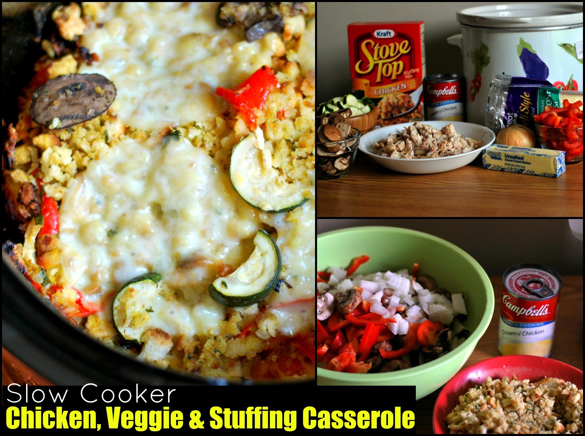 Slow Cooker Chicken, Veggie & Stuffing Casserole
